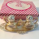 Salt Pepper Shakers Silver Teapot Tray Mother of Pearl Souvenir Wisconsin Dells