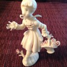 Figurine Vintage Plastic Country Girl Holding Basket Made in Italy Italian 4.5""
