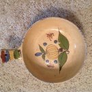 Vintage Mexico Mexican Folk Art Pottery Yelloware Yellow Ware Handled Bowl