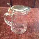 Vintage Kitchen Glass Clear Flower Etched Syrup Pitcher with Metal Lid Pat 1914