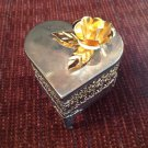 Ornate Punched Silver Mesh Filigre Heart Shaped Heart Shaped Trinket Jewelry Box