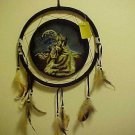 "New Wall Hanging 12"" Howling Wolf Medallion Dream Catcher Feathers Indian Native"