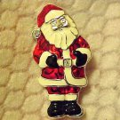 New Pin Brooch Santa Claus Christmas Silver Tone Enamel Figural Jewelry Bling