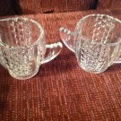 Vintage Deco Cream and Sugar Set Bowl Pitcher Clear Elegant Glass Free Shipping