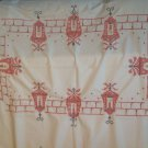 Christmas Tablecloth Cross Stitch Red White Street Lamps Holly Rhinestones 48x64