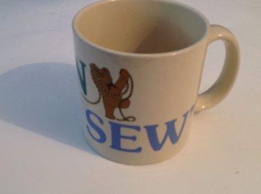 Coffee Tea Mug Cup Born to Sew Vintage 1988 Free Shipping Sewing Needlework