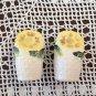 Vintage Salt & Pepper Shaker Set Flower Basket Yellow Flowers Made in Japan