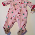 New Baby Infant Girl Footed Pajamas 0-3 Mo Santa Claus Christmas Pink Carters