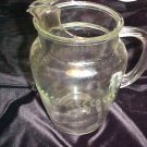 Vintage Beverage Pitcher Clear Glass Etched Laurel Wreath Pattern Mid Century