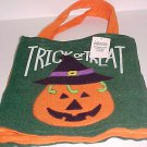 Brand New Green Felt Halloween Trick or Treat Bag Sack Jack-o-Lantern Design