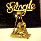 New Pin Brooch Unmarried Single Lady Woman on Swing Swinging Gold Tone Jewelry