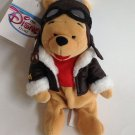 "Plush Beanie Disney Store Pilot Aviator Winnie the Pooh 8"" Bean Bag Toy New Tags"
