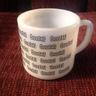 Coffee Mug Cup Vintage Milkglass Black Goddall Advertising Logo Federal Glass