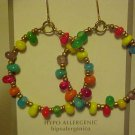 Dangling Pierced Earrings Beaded Gypsy Hoop Red Purple Blue Glass Beads New