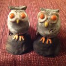 "Owl Figurine Set 2 Gray Orange Eyes Creative Co-Op Pottery Home Decor 3.5"" Tall"