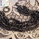 Bracelet Black Chain Strands Faceted Rhinestones Bijoux Terner New Jewelry Bling