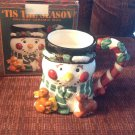 Coffee Tea Mug Oversize 18 oz Tis The Season Snowman Deer Beer Figural Christmas
