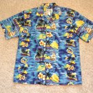 Aloha Camp Shirt Mens Size L SS Blue Ky's Hawaii Palms Flower Boats Ocean Sunset