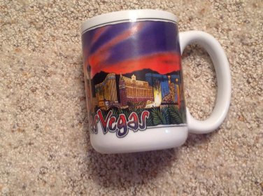 Coffee Tea Mug Las Vegas Strip Hotels Night Sky 12 oz Mirage Luxor Paris MGM