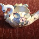 Swan Figurine Planter Vase Japan Porcelain UCAGCO Applied Pink Roses Leaves