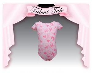 TALENT TALE GIRLS DANCE PRINTED SHORT SLEEVE LEOTARD  M(7/8)