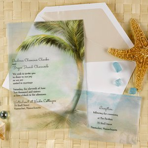 100 Translucent Tropics Beach Custom Destination Wedding Invitations
