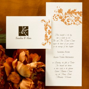100 Simple Classic Autumn Fall Orange Leaves Elegant Custom Wedding Invitations