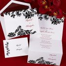 100 Damask Trifold White & Black Custom Wedding Invitations