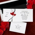 100 Two Hearts of Love with Swirl Classic Custom Wedding Invitations