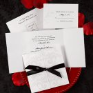 100 Elegant Pearlized Filligree and Leaves w/ Ribbon Custom Wedding Invitations