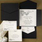 100 Black Swirl Filigree and Ecru White Pocket Custom Wedding Invitations