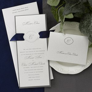 100 Elegant White Monogram Design with Ribbon Accent Custom Wedding Invitations