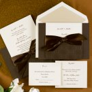100 Elegant Intricate Mocha Design Pocket Custom Wedding Invitations