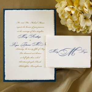 100 Elegant Ecru Deckled Edge Navy Accent Classic Custom Wedding Invitations