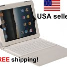 White iPad2 iPad3 Folding Leather Case with Bluetooth Keyboard Wireless NEW for iPad 2 3