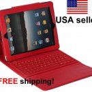 Red iPad2 iPad3 Folding Leather Case with Bluetooth Keyboard Wireless NEW for iPad 2 3