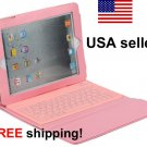 Pink iPad2 iPad3 Folding Leather Case with Bluetooth Keyboard Wireless NEW for iPad 2 3