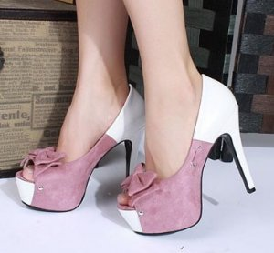 NEW Sexy Cute Pink Blue or Black Bow Open Peep Toe High Heels Pumps Shoes P-483