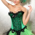 Sexy Emerald Green and Black Satin Floral Vines Corset with Bow