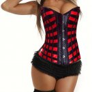 Red and Black Stripes Satin Sweetheart Corset NEW C138RED