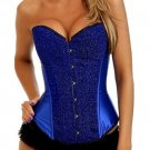 Sexy Blue Sparkle Glitter Satin Corset NEW 977BLUE