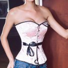 Pink Satin Brocade Corset with Black Ribbon Bow Ties NEW C129