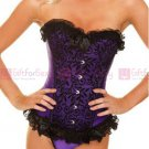 Purple and Black Satin Floral Corset with Bow NEW 812PURPLE