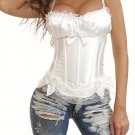 Sexy White Peasant Top Satin Corset with Lace Trim 8899WHITE