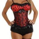 Red Burlesque Peasant Top Satin Corset with Black Polka Dots 855RED