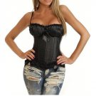 Sexy Black Peasant Top Satin Corset with Black Lace Trim 8899BLACK