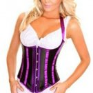 Black Satin Underbust Corset Halter with Purple Stripes 831PURPLE