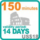 150 minutes for US$18, validity period: 14 days