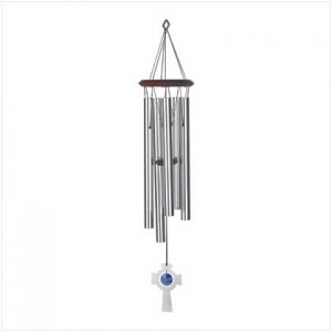 14593 - NEW> Silver Cross Windchime