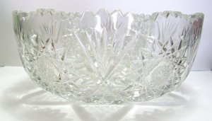 Crystal ABP Serving Bowl - Star of David pattern with Hobstars & Fans